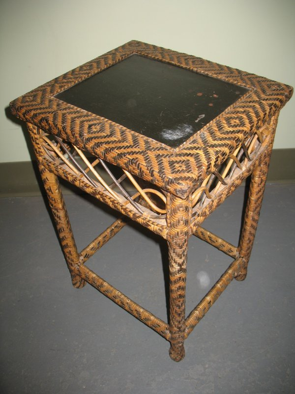 CHEROKEE BASKETWEAVE ANTIQUE SIDE TABLE