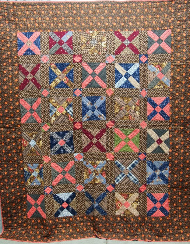 CHIMNEY SWEEP ANTIQUE QUILT richly colored