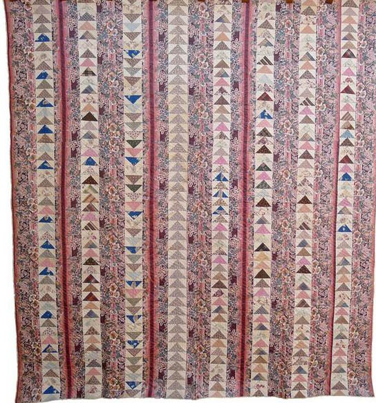 CHINTZ and FLYING GEESE BARS ANTIQUE QUILT