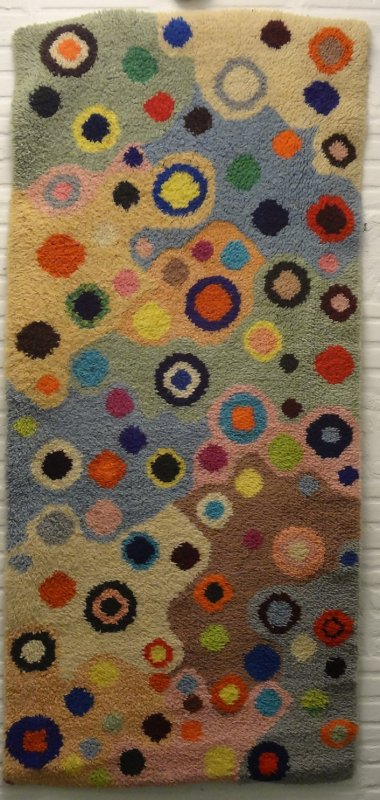 COLORFUL DOTS LATCH HOOKED RUG