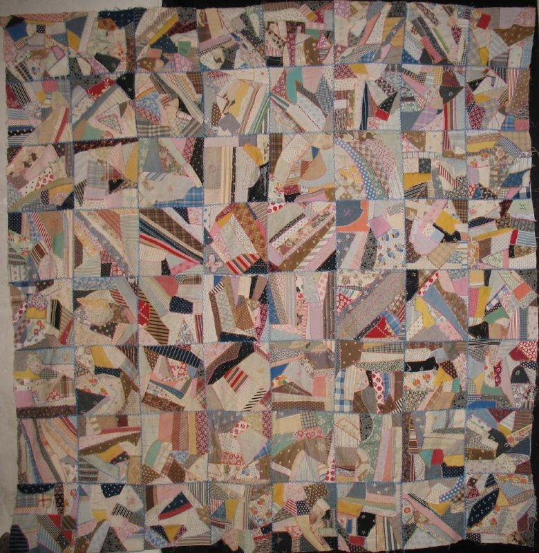 CONTAINED CRAZY ANTIQUE QUILT TOP