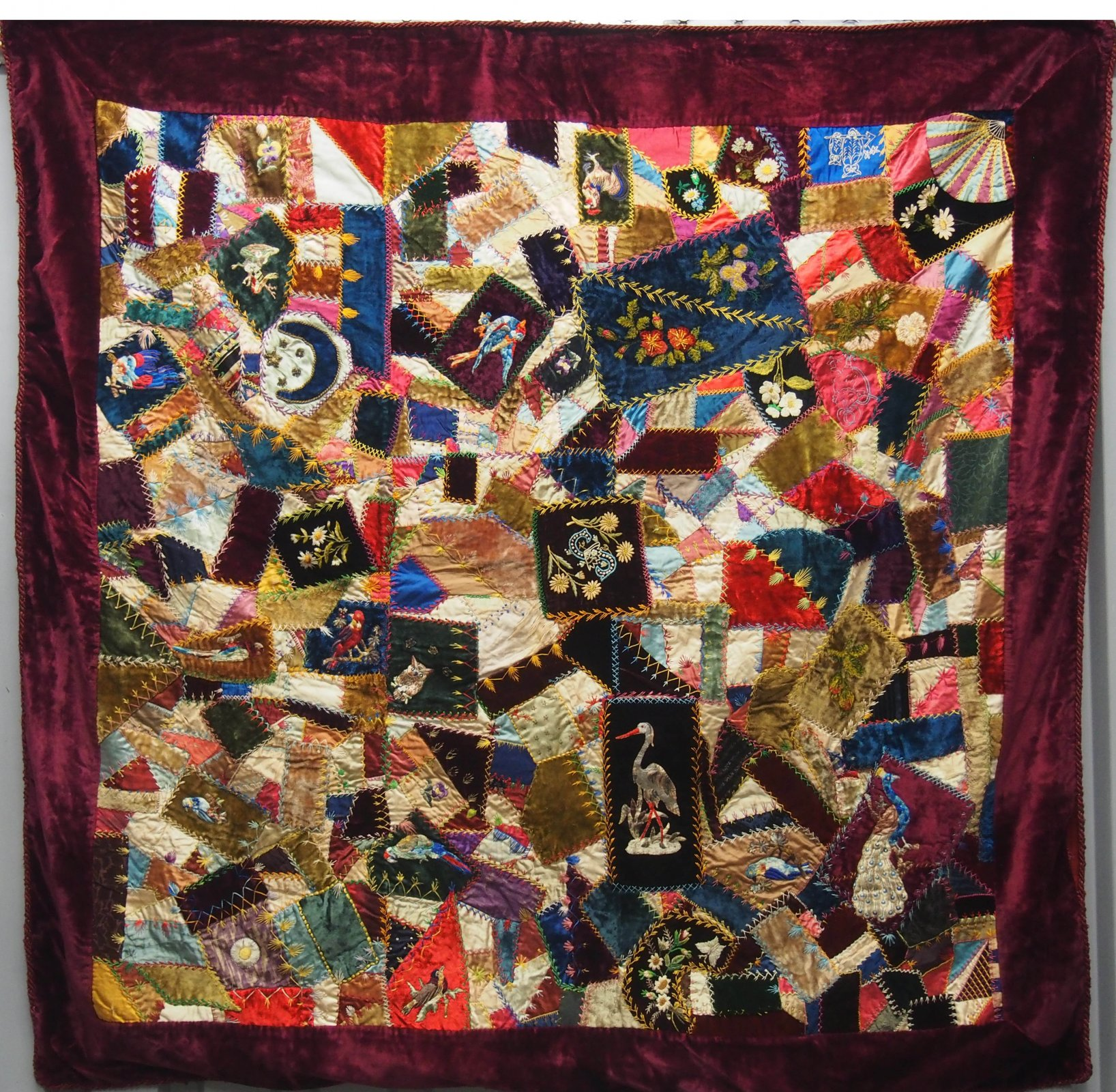 CRAZY QUILT  BIRDS EMBROIDERED IN DIAMONDS ANTIQUE SILK