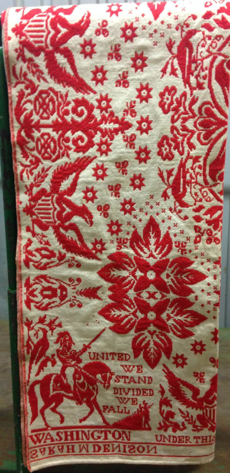 UNITED WE STAND......ANTIQUE JACQUARD COVERLET