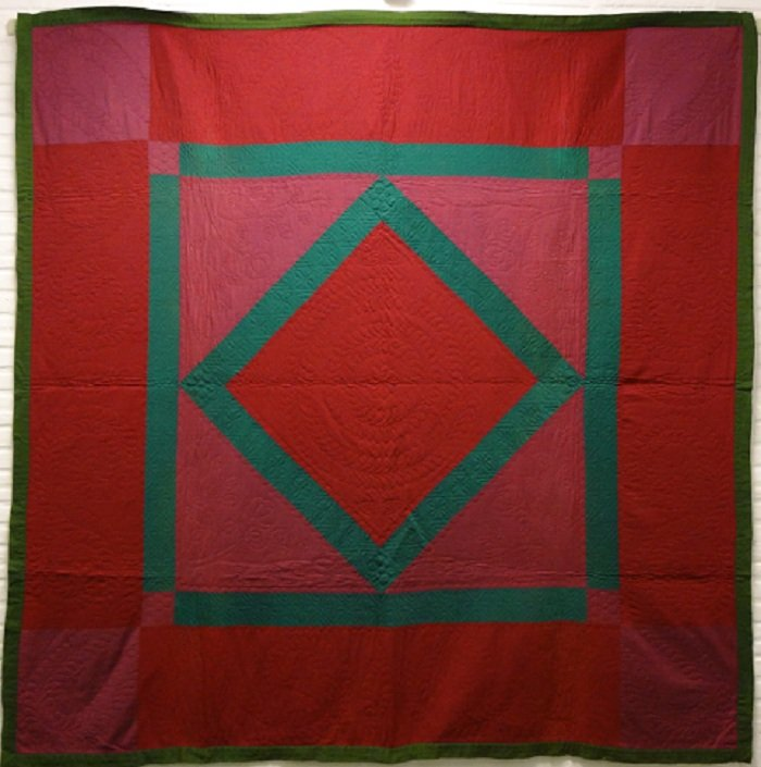 Amish diamond in a square antique quilt red green wool for Red door design quilts
