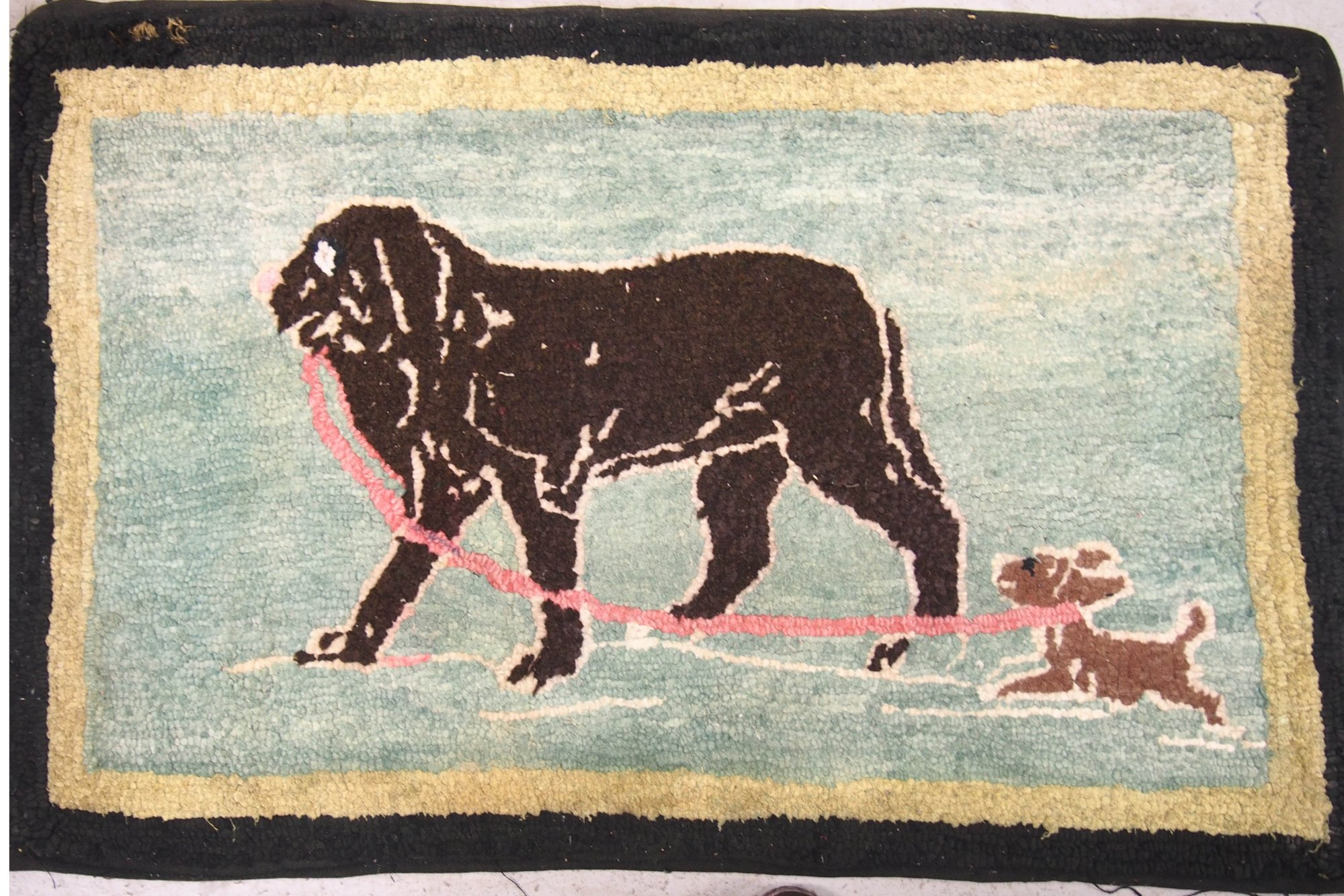 DOG AND PUP ON A LEASH ANTIQUE HOOKED RUG