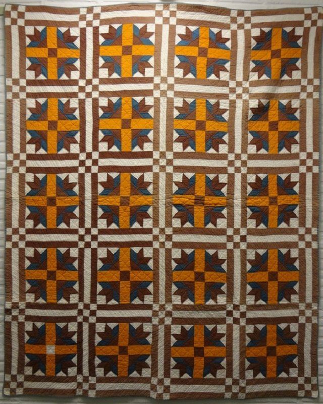 DUCK'S FOOT IN THE MUD, NINE-PATCH CORNERS ANTIQUE QUILT