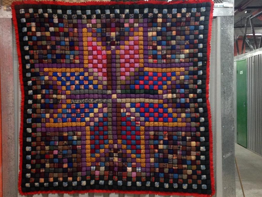 EIGHT POINT STAR STUFFED POSTAGE STAMP ANTIQUE QUILT