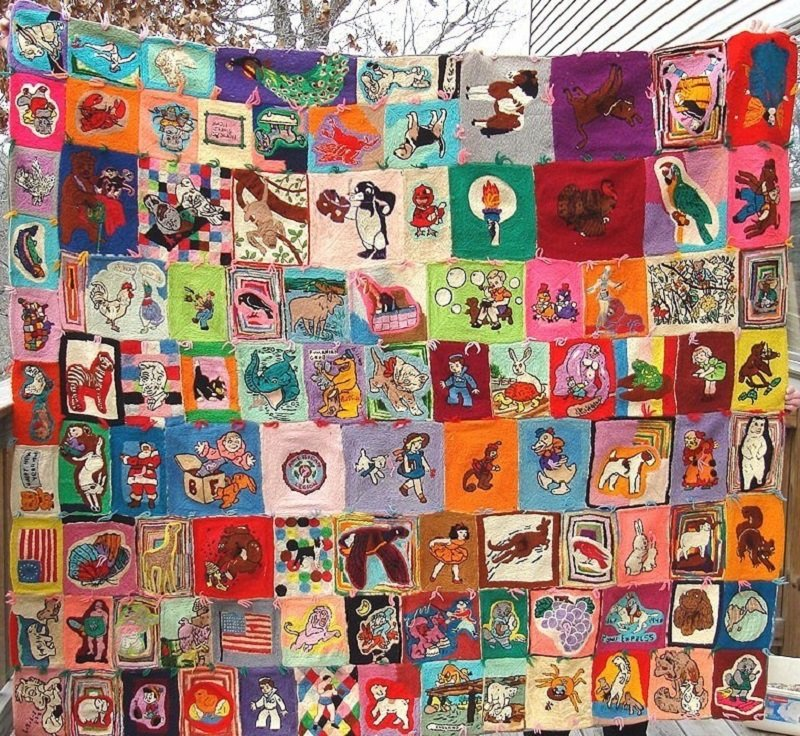 EMBROIDERED POP CULTURE FIGURES VINTAGE PIECED QUILT