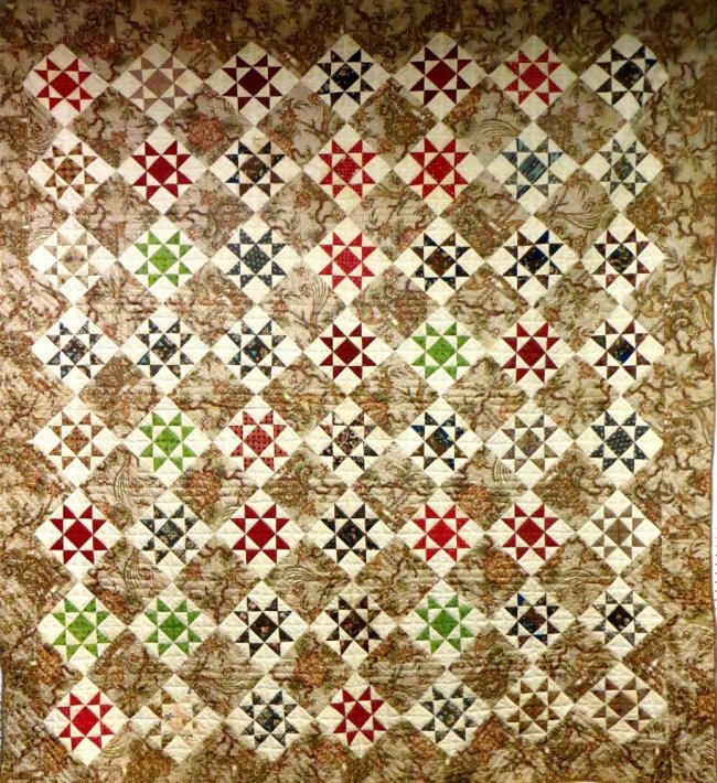 EVENING  STARS ANTIQUE QUILT early 19th c