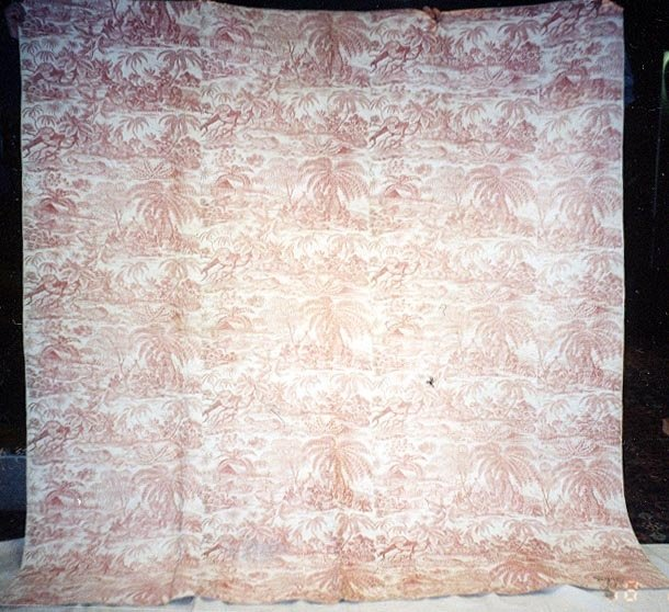 EXOTIC TOILE WHOLE CLOTH ANTIQUE QUILT