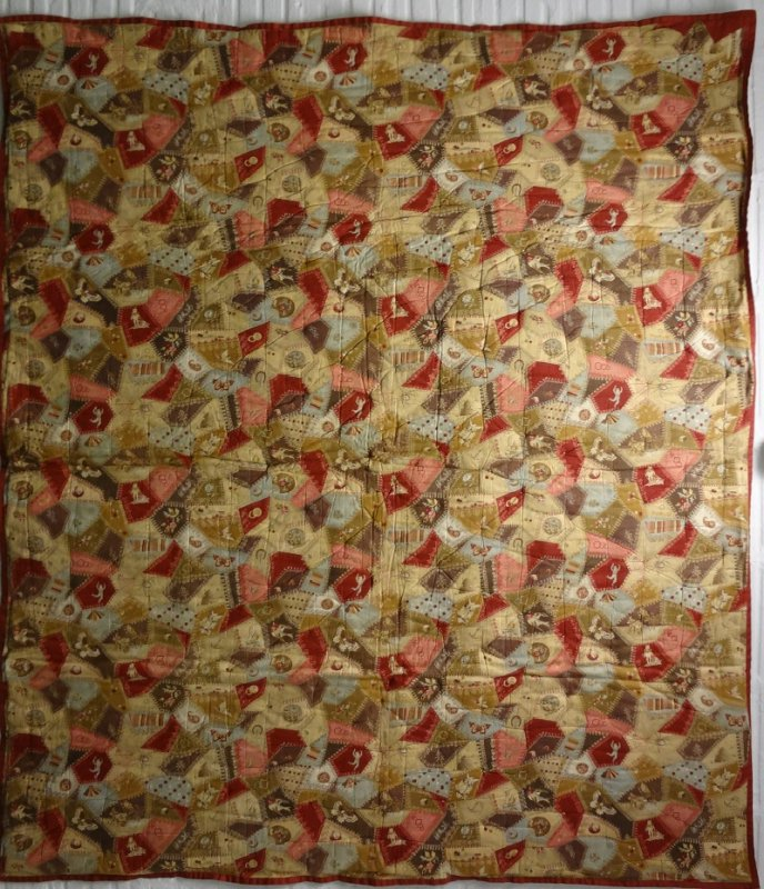 FAUX CRAZY ANTIQUE WHOLE CLOTH QUILT