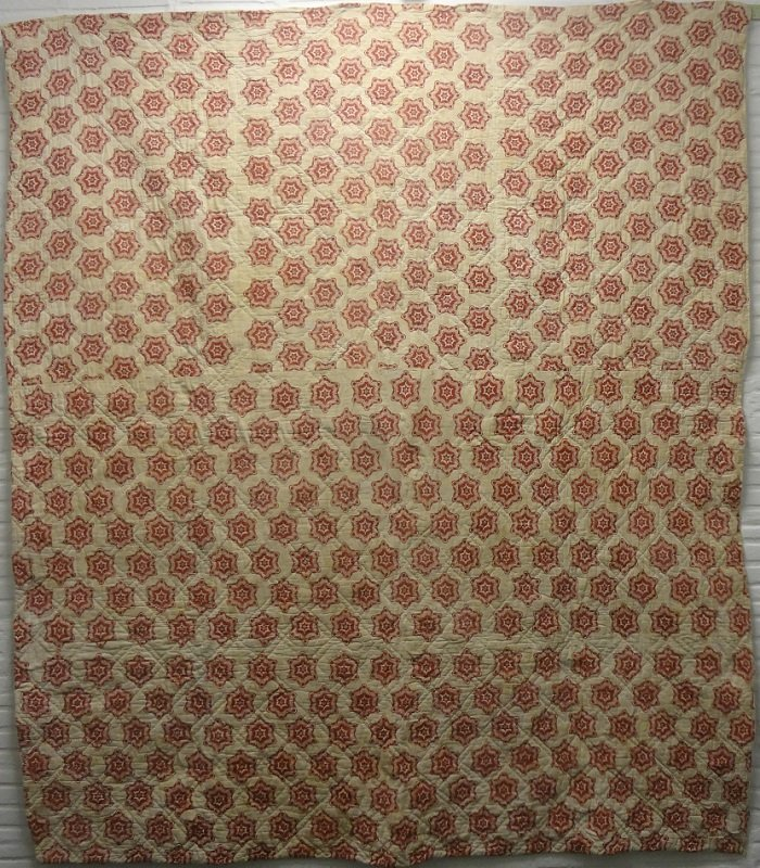 FRENCH BLOCK PRINTED WHOLE CLOTH ANTIQUE QUILT