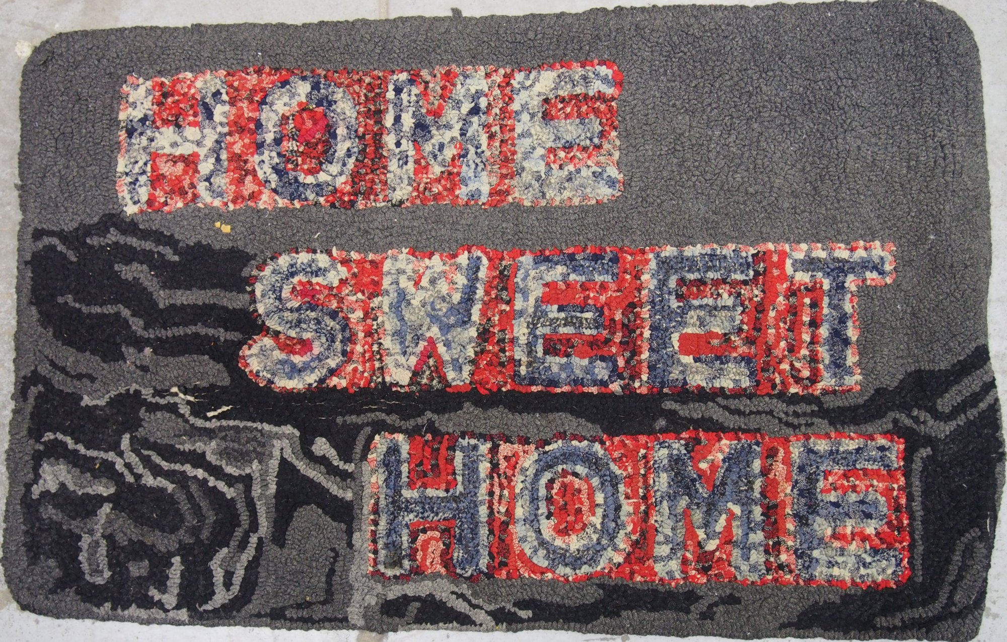 HOME SWEET HOME ANTIQUE HOOKED RUG