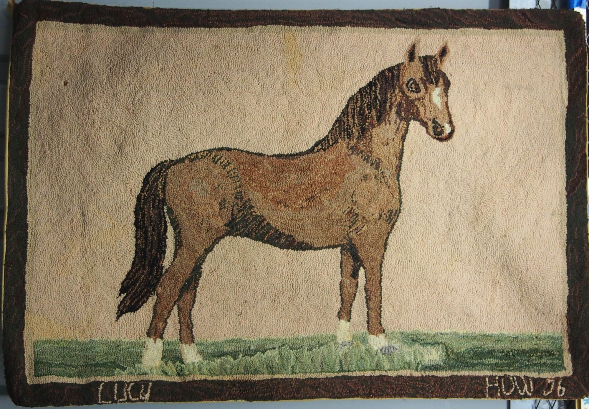 HORSE ANTIQUE HOOKED RUG, named Lucy