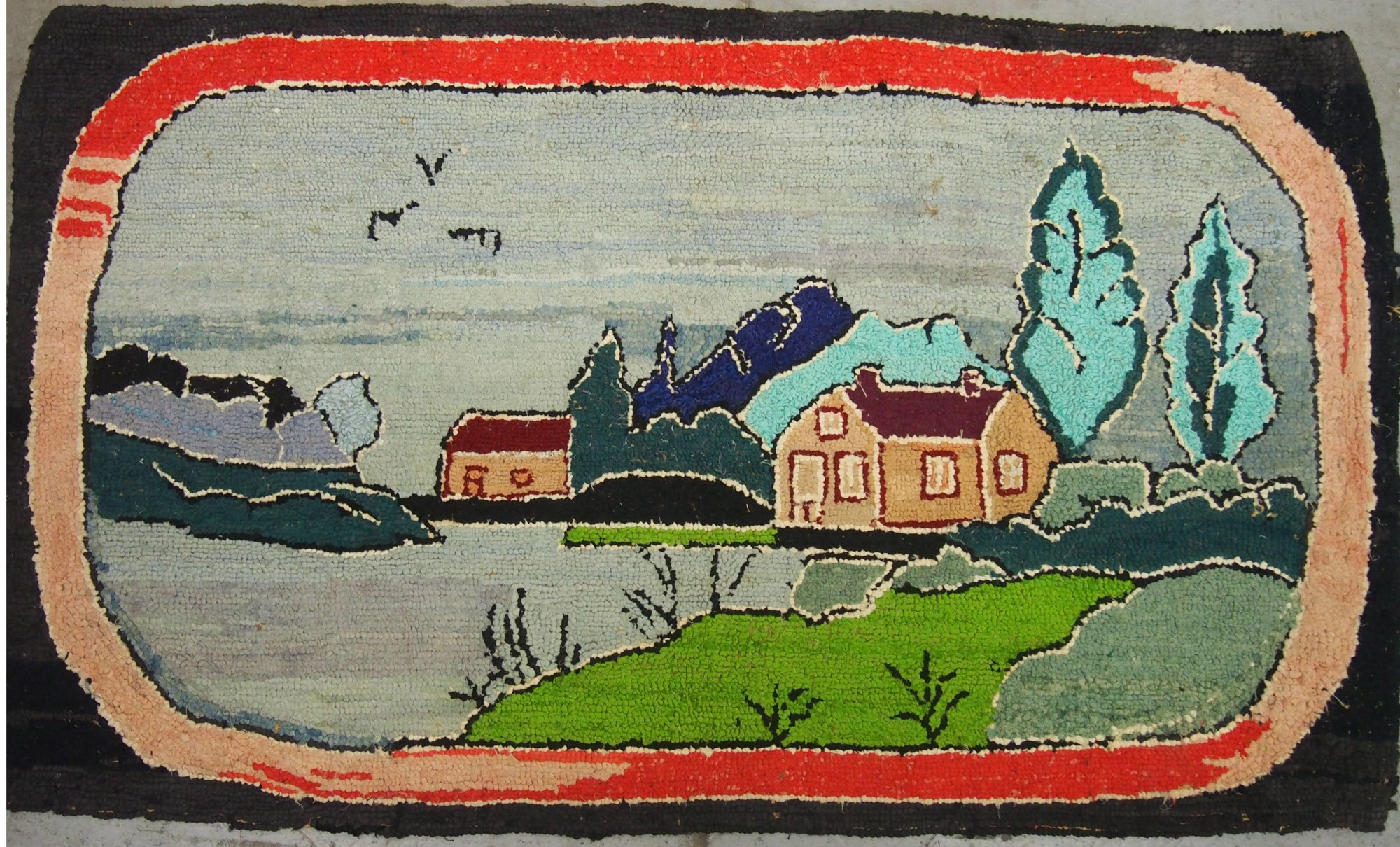 HOUSES BY A STREAM ANTIQUE HOOKED RUG