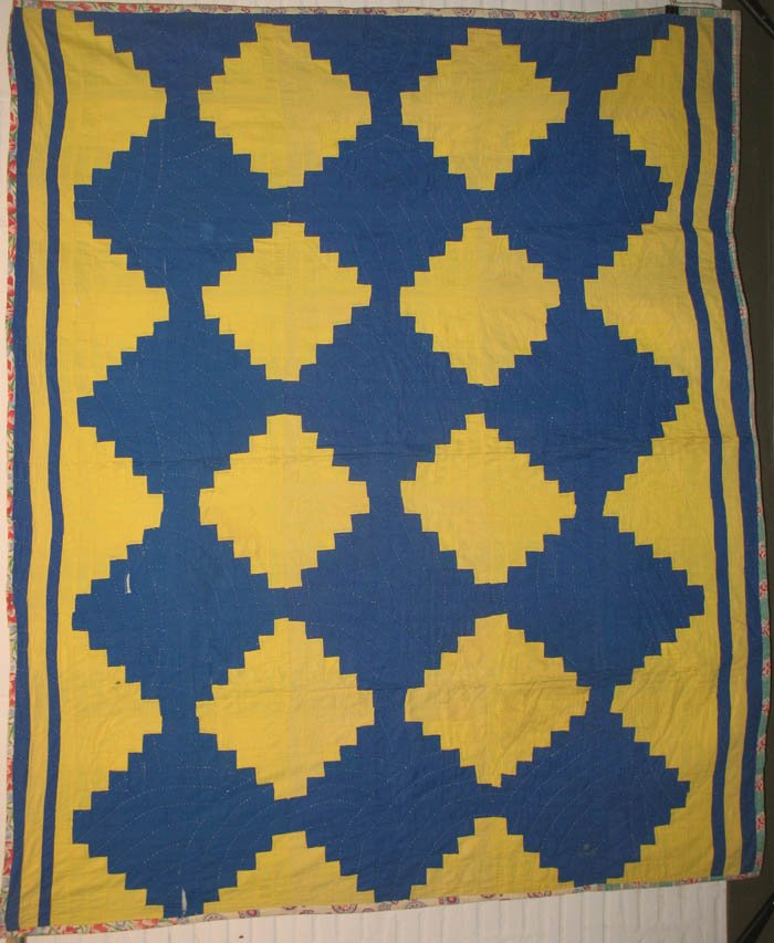 AFRICAN AMERICAN HOUSETOP LOG CABIN VINTAGE QUILT