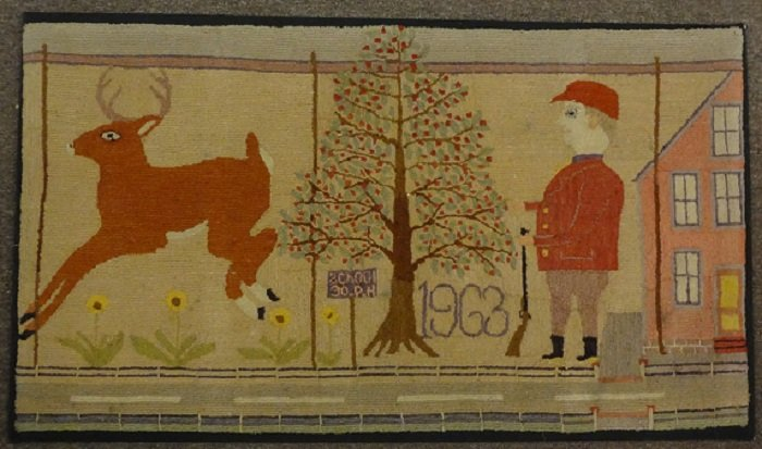 DEER AND HUNTER VINTAGE HOOKED RUG, UNIQUE, FOLKY