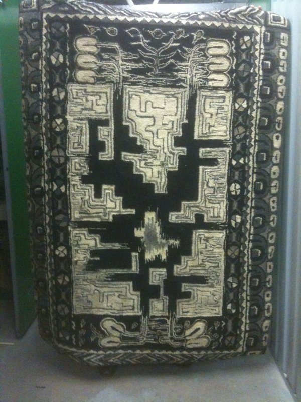 ABSTRACT GEOMETRIC ANTIQUE HOOKED RUG signed VALLI KORIN