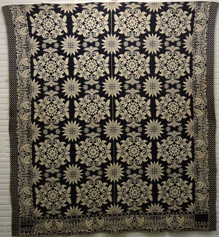 JACOB IMPSON, NY 1838 LADY'S FANCY ANTIQUE JACQUARD COVERLET