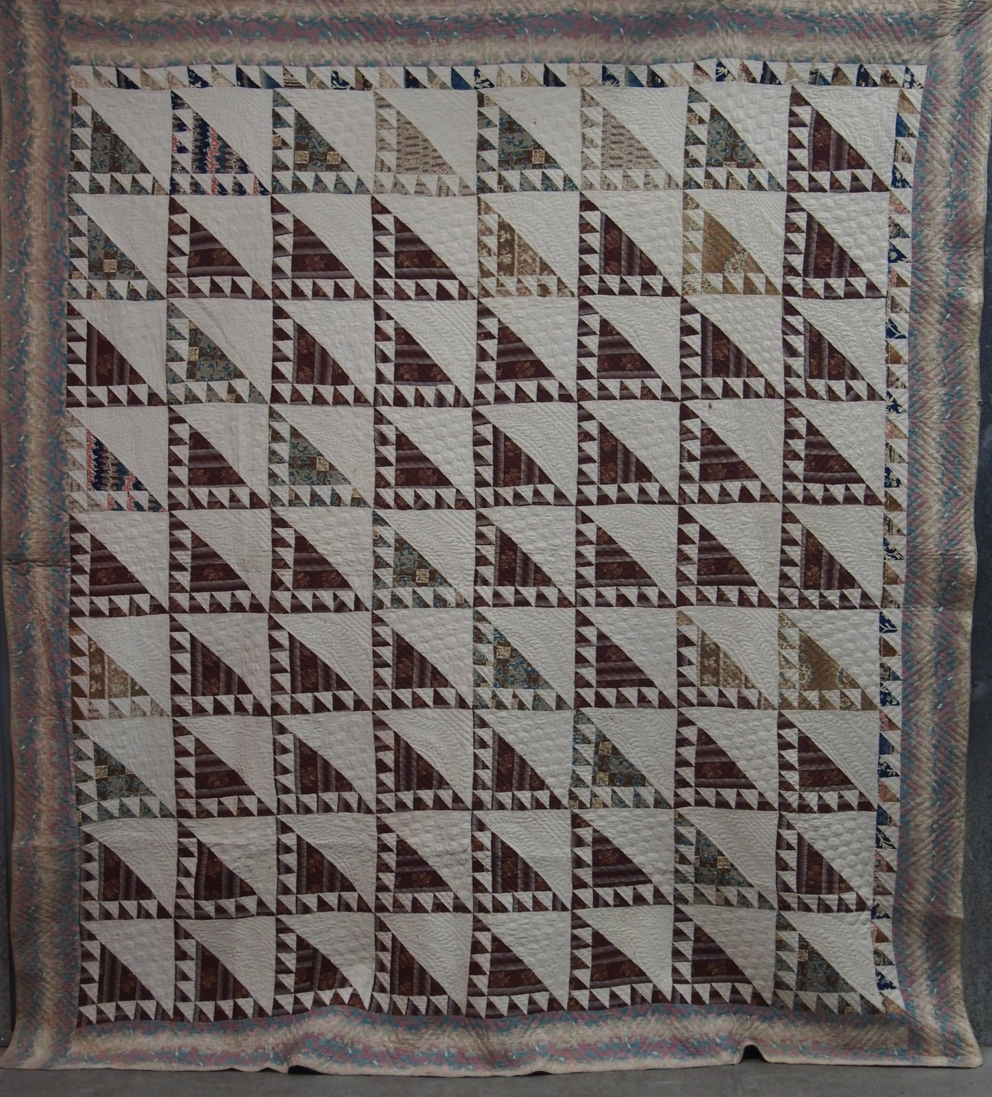 LADY OF THE LAKE OMBRED CHINTZ ANTIQUE QUILT
