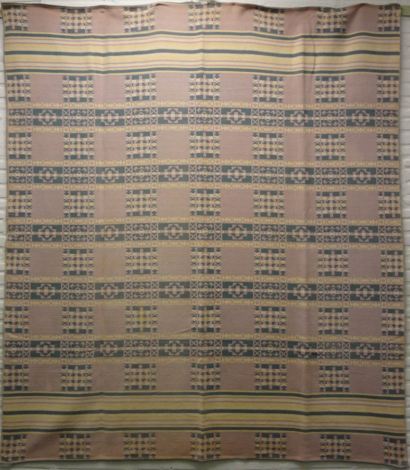 BEACON VINTAGE BLANKET narrow figured stripes pale colors