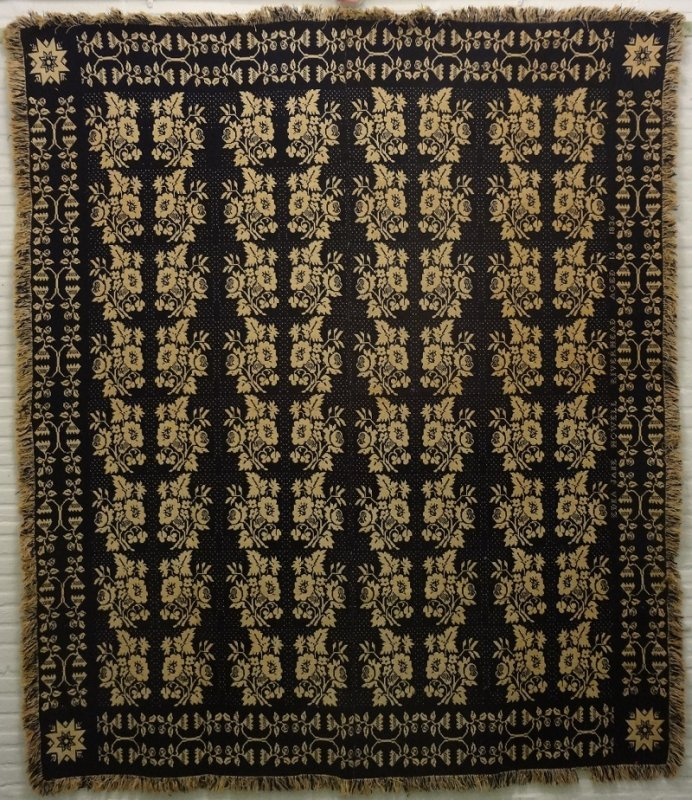 LONG ISLAND NY JACQUARD ANTIQUE COVERLET 1838 Edna Jane Howell