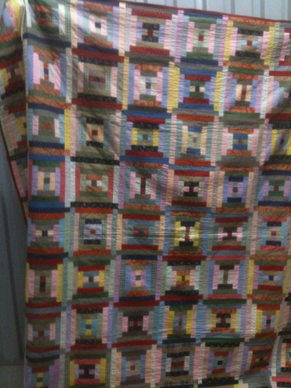 LOG CABIN COURTHOUSE STEPS ANTIQUE QUILT multi rich pastels