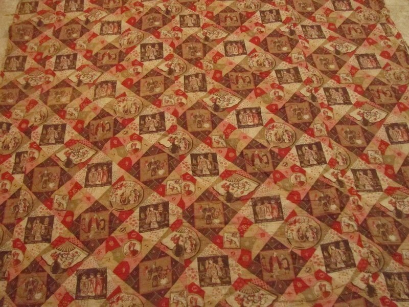 'MIKADO' WHOLE CLOTH ANTIQUE QUILT, reverses to Log Cabin