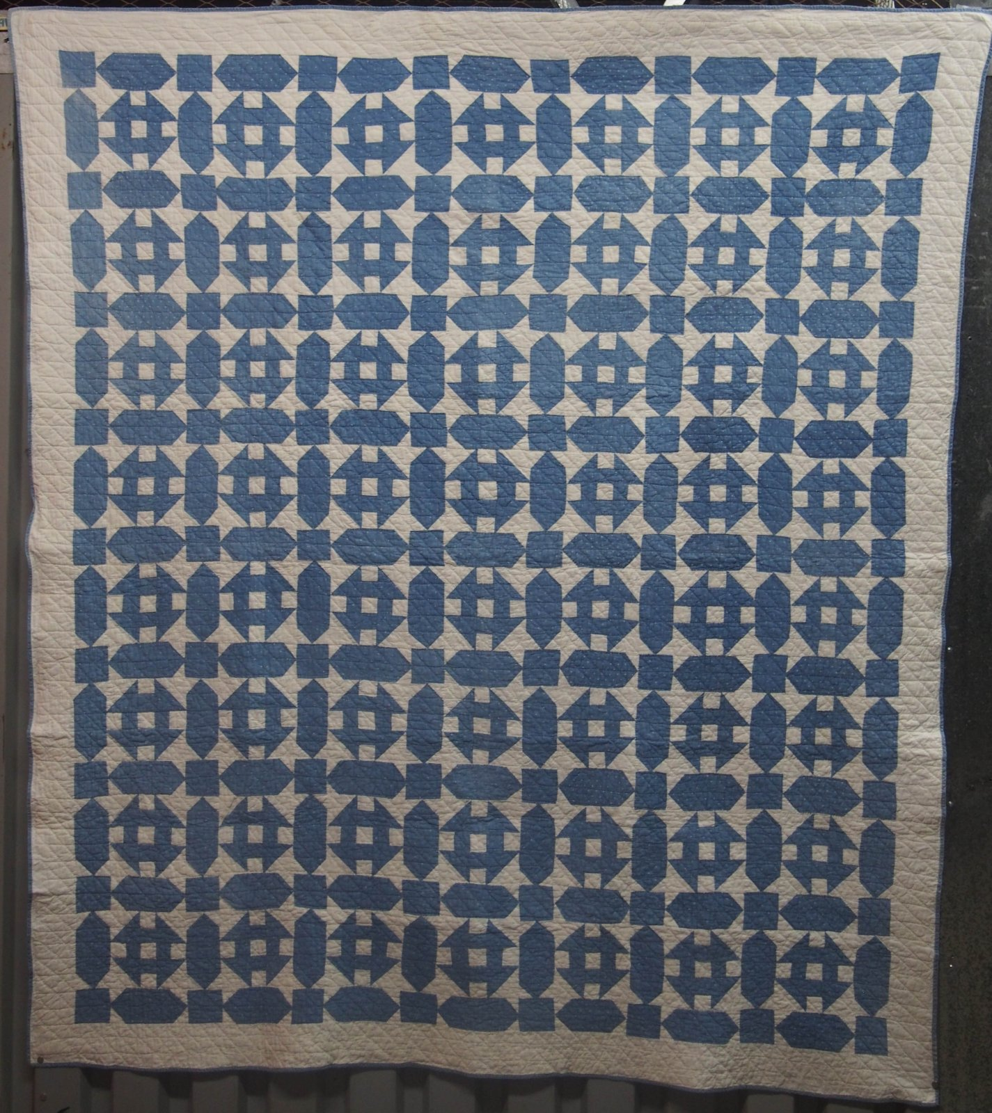 MONKEY WRENCH ANTIQUE QUILT blue white small scale blocks