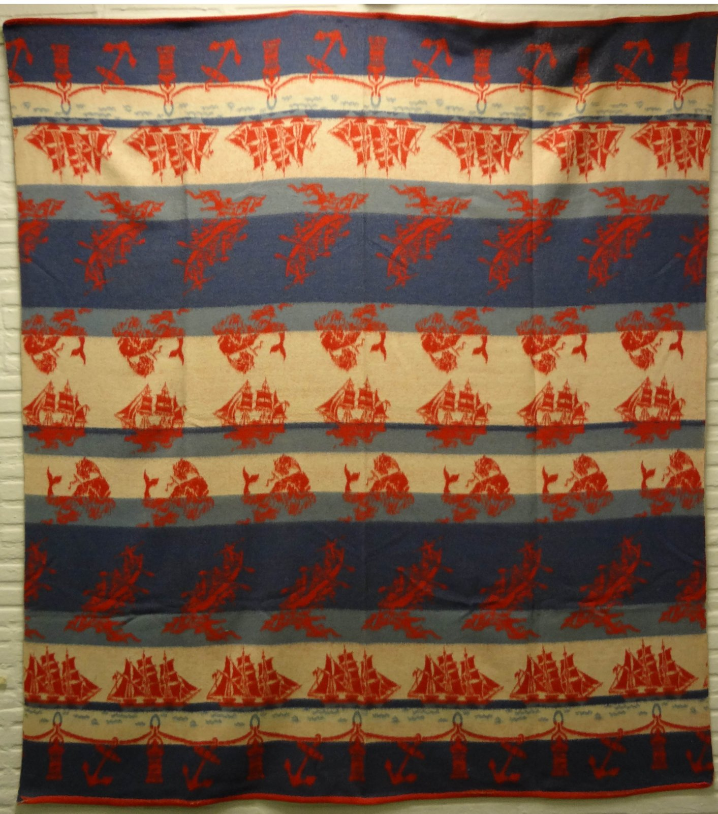 BEACON VINTAGE BLANKET NAUTICAL SHIPS AND WHALES
