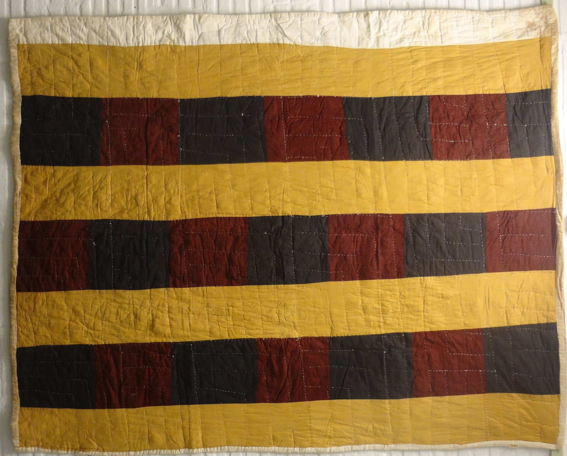 AFRICAN AMERICAN PIECED BARS VINTAGE QUILT