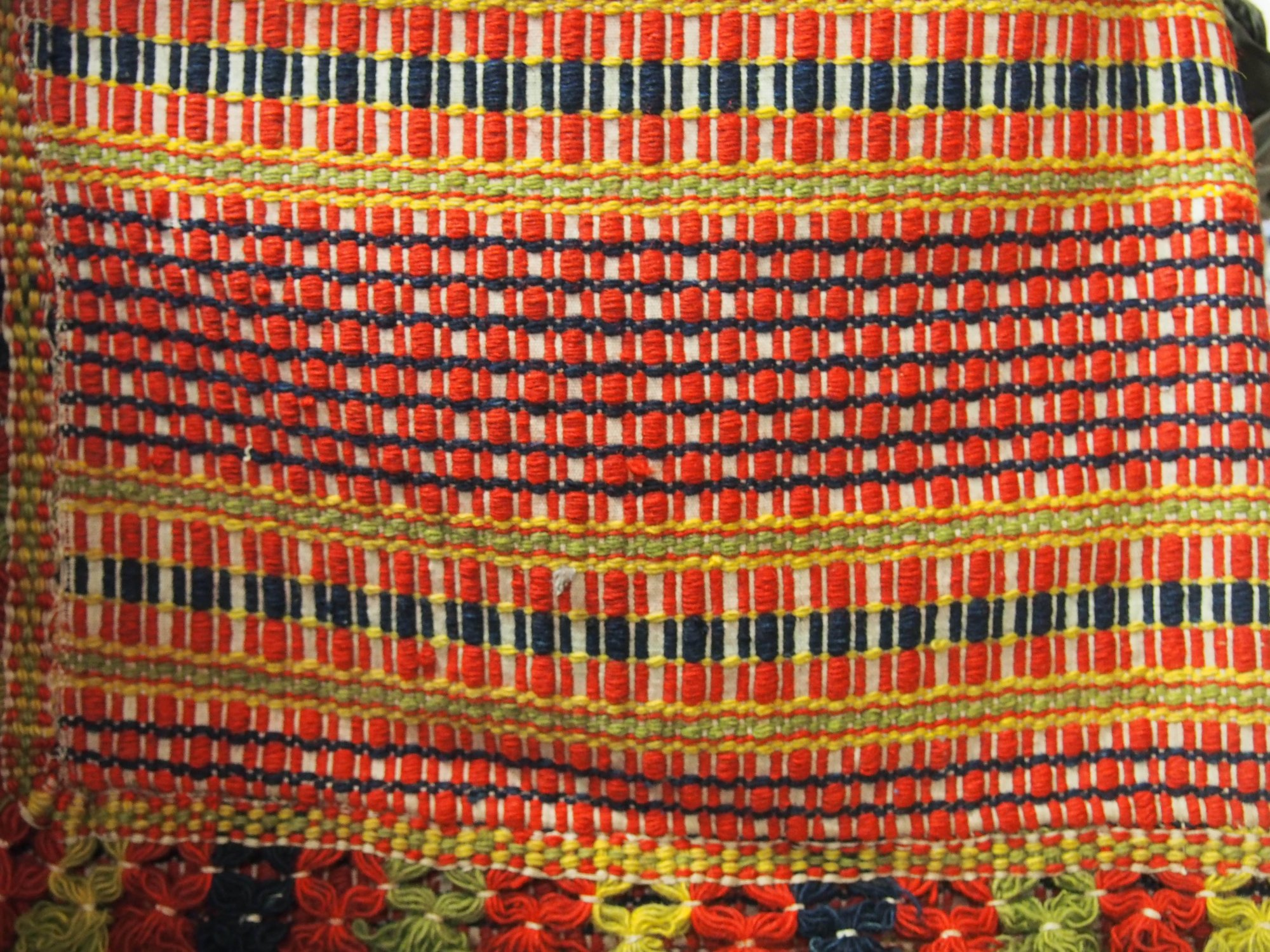 View Large Image · OVERSHOT ANTIQUE COVERLET Complex Weave Red Orange  Indigo Etc