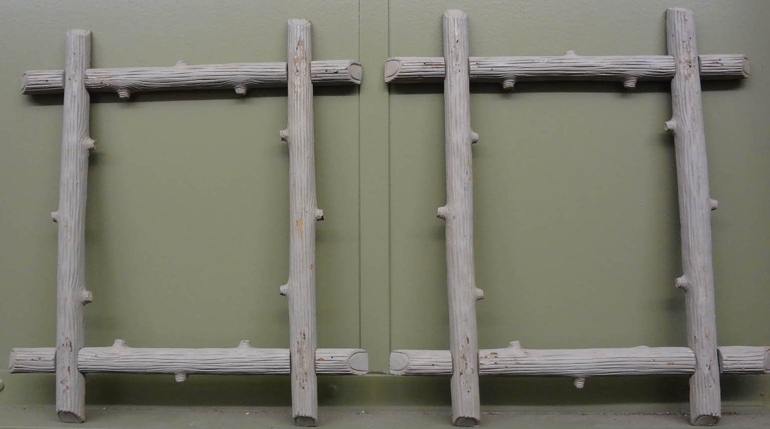 FAUX BOIS PAIR OF PAINTED ANTIQUE FRAMES