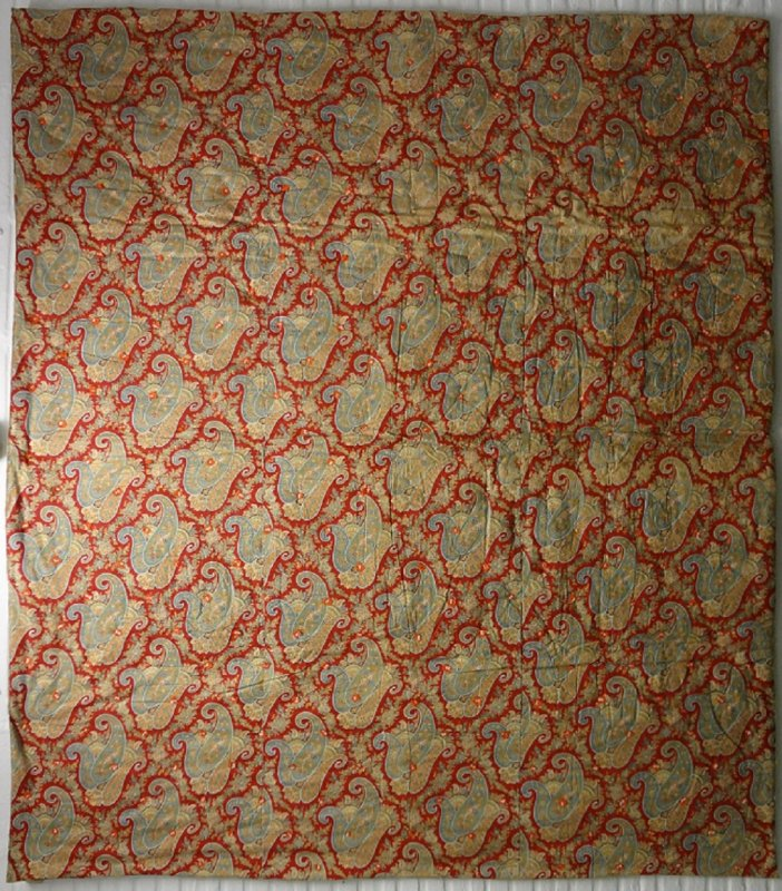 RED PAISLEY COTTON WHOLE CLOTH ANTIQUE QUILT