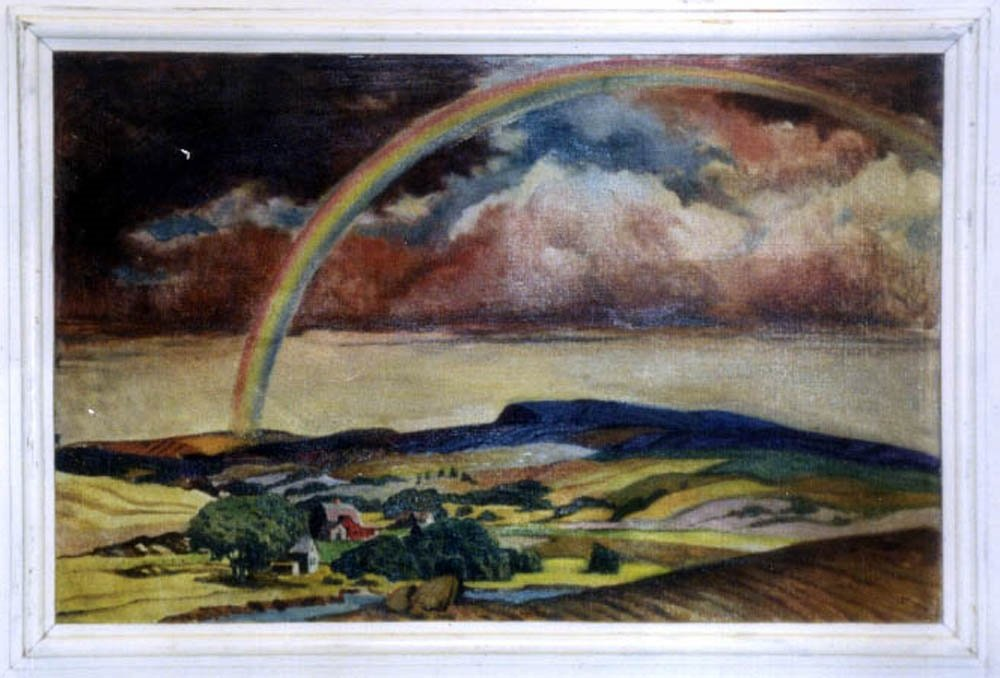 RAINBOW OVER TOWN SCENE VINTAGE OIL  PAINTING