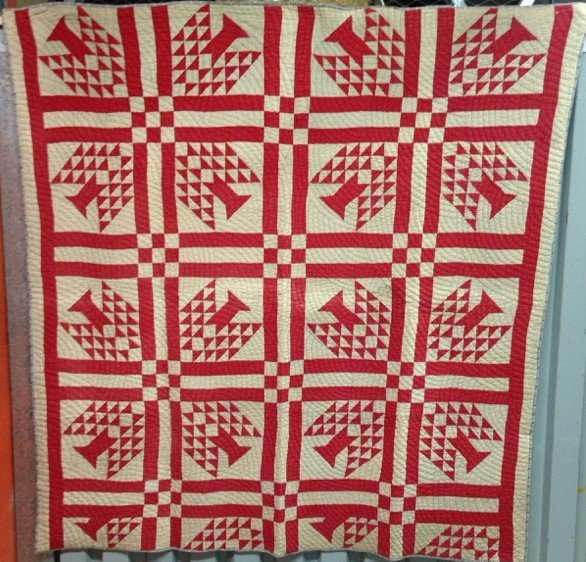 RED TREES ANTIQUE QUILT