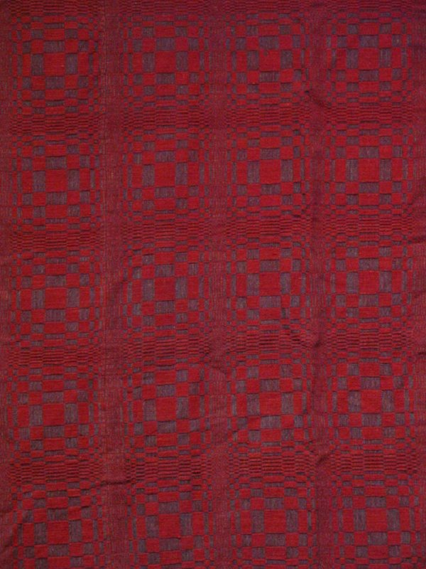 OPTICAL ILLUSION PATTERN OVERSHOT ANTIQUE COVERLET red and blue
