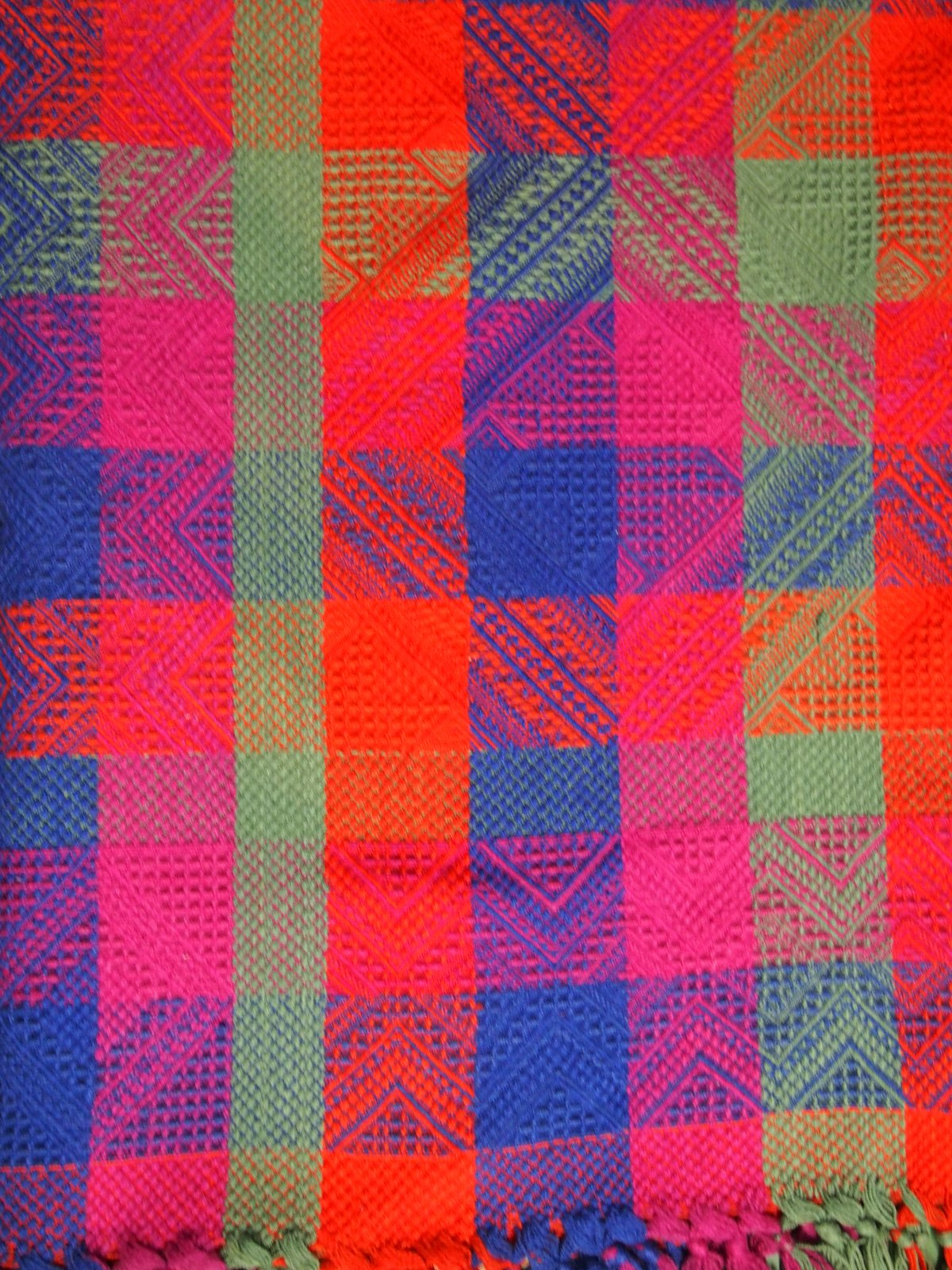 BRILLIANT COLORS BOLD SQUARES FINE ANTIQUE BLANKET (2 avail)