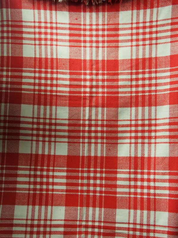 RED CHECK HANDWOVEN ANTIQUE BLANKET