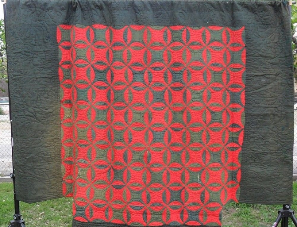 LINSEY WOOLSEY REEL CUT CORNERS ANTIQUE QUILT