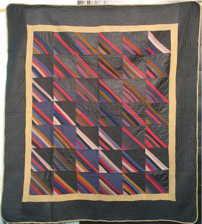 AMISH ROMAN STRIPE ANTIQUE  QUILT, black cotton sateen border
