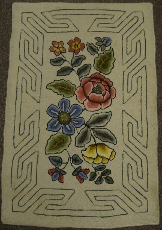 FLOWERS, DOUBLE LINE BORDER ANTIQUE HOOKED RUG