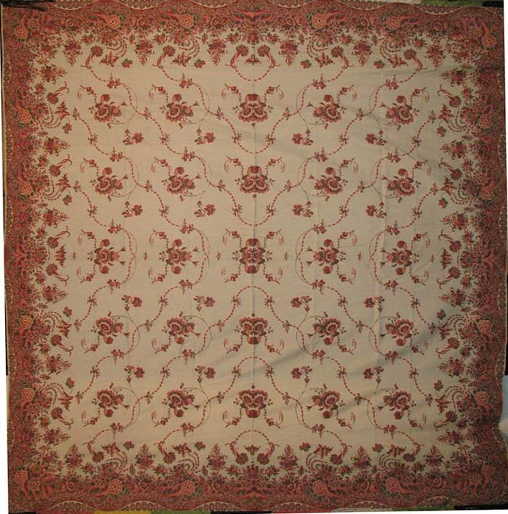 ROSES ANTIQUE JACQUARD SHAWL ivory ground, fine