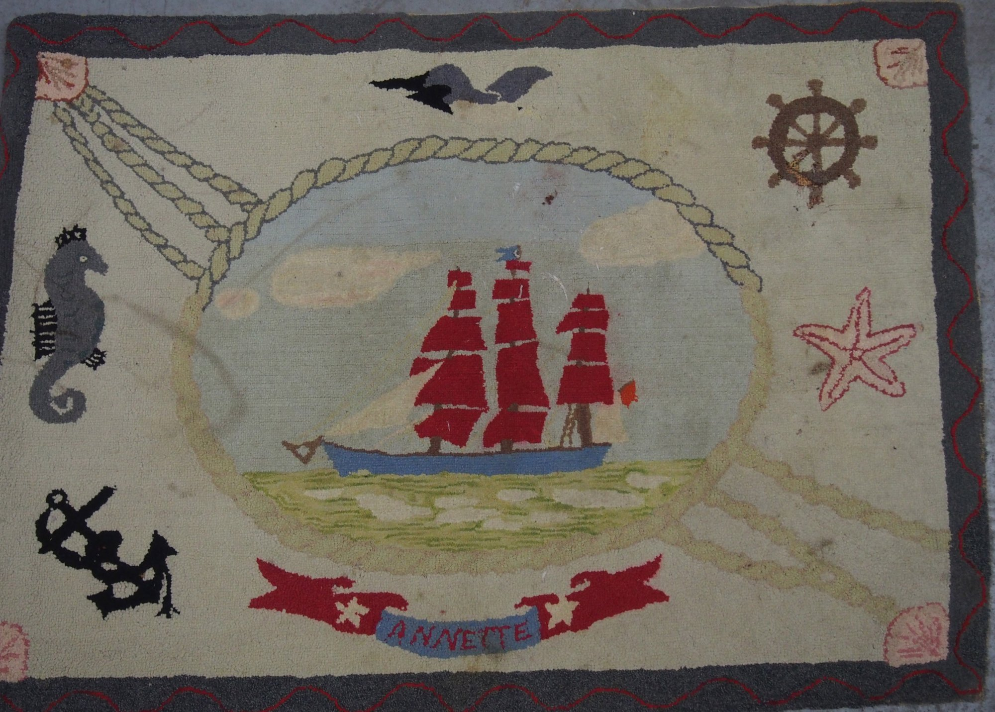 SHIP ANNETTE ANTIQUE HOOKED RUG
