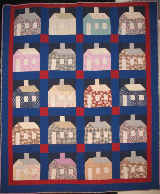 HOUSES AT NIGHT ANTIQUE QUILT