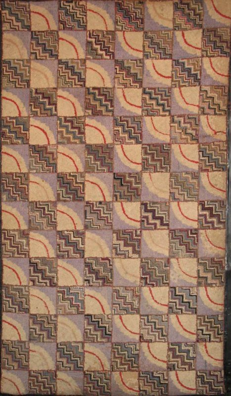 ARCS AND ZIGZAG ANTIQUE HOOKED RUG