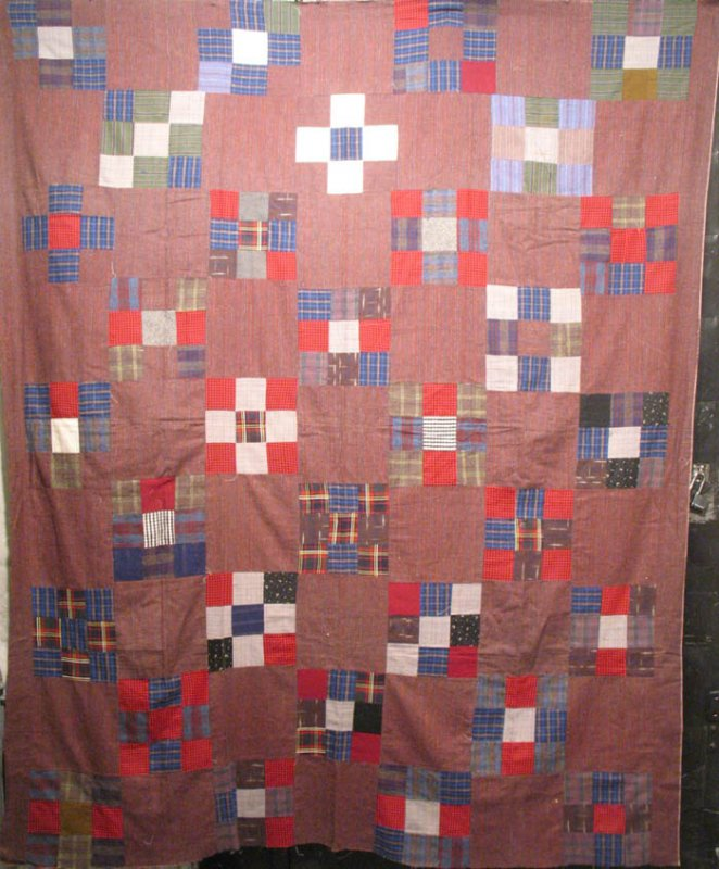 NINE PATCH FLANNELS ANTIQUE QUILT TOP