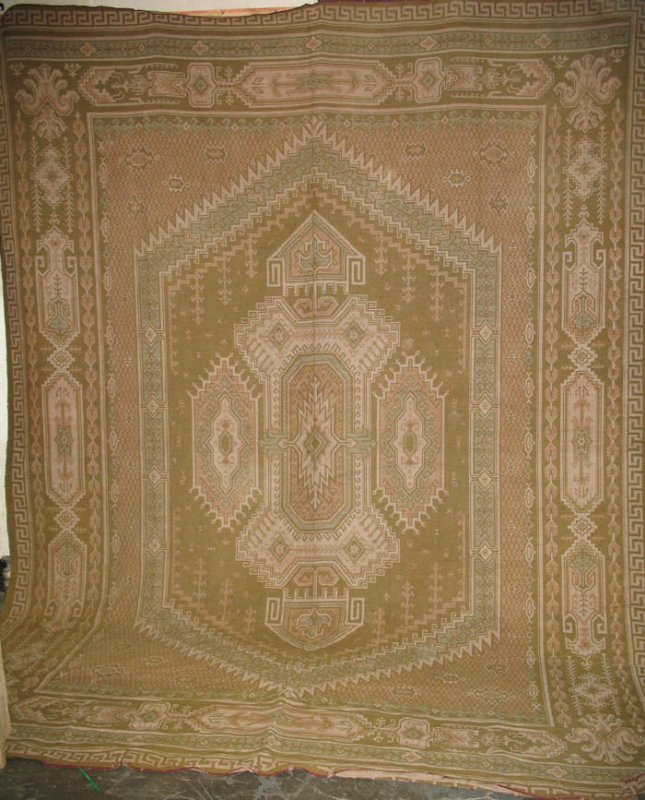 INGRAIN CARPET CENTER MEDALLION Arts & CRAFTS ERA ANTIQUE