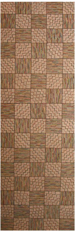 HIT OR MISS AND ZIGZAG ALTERNATING SQUARES ANTIQUE HOOKED RUNNER  2 available