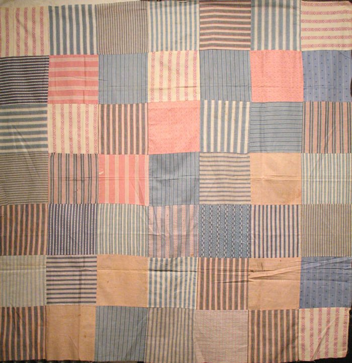 LARGE SCALE ONE PATCH STRIPED ANTIQUE QUILT TOP